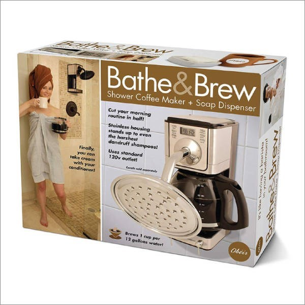 Corded phone - Banhe tBrew Bathe&Brew Shower Coffee Maker + Soap Dispenser Cut your morning routine in half Stainless housing stands up to even the harshest dandruff shampoos! Uses standard 120v outlet! Finally, you can take croam with your conditionerl te edrly Brews 1 cup per 12 gallons waterl 0beir