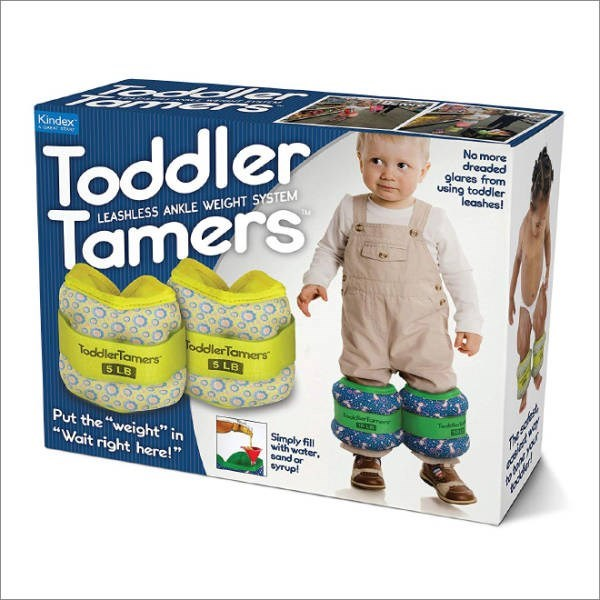 """Product - Toddler Tamers Kindex No more dreaded glares from using toddler leashes! LEASHLESS ANKLE WEIGHT SYSTEM ToddlerTamers S LB TocdlerTamers 5 LB oderfame Put the weight"""" in Wait right here! Simply fill with water. sand or syrup!"""