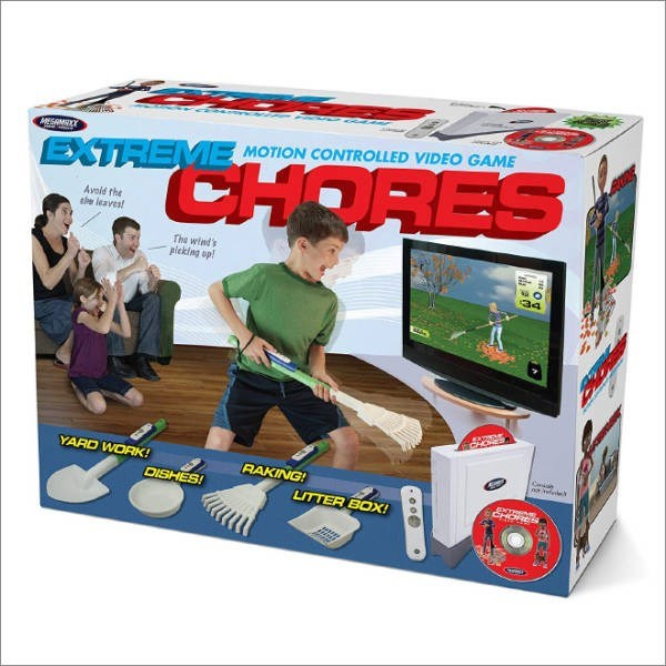 Toy - ESAMTEY EXTREME MOTION CONTROLLED VIDEO GAME CHORES Avoid the ae leaves The wind's picking op! 34 CHONES YARD WORK! RAKING! DISHES! LITTER BOX! CHORES eo