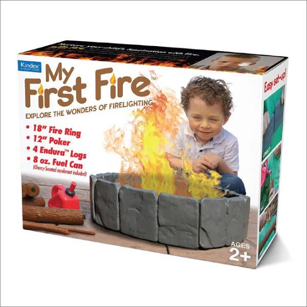 """Toy - Kindex My Esy st- First Fire EXPLORE THE WONDERS OF FIRELIGHTING 18"""" Fire Ring 12"""" Poker 4 Endura"""" Logs 8 oz. Fuel Can (0ery Sentad olerant indude) Kinde AGES 2+"""