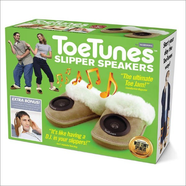 "Fake gift called ""ToeTunes"" which are speakers built into slippers"