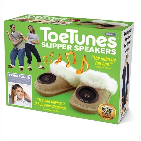 "Start your day the ToeTunes TECIOC TM Belmes SLIPPER SPEAKERS ""The ultimate Toe Jam!"" Runtrick Magain EXTRA BONUS! ostel loeunes ""It's like having a D.J. in your slippers!"" WINNER MOST COMEY SPEAKERS A Bg"