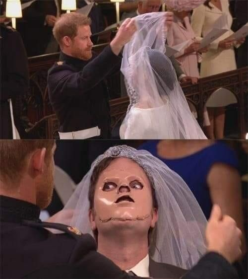 prince harry taking veil off meghan markle and dwight with mannequin's face on his face the office memes
