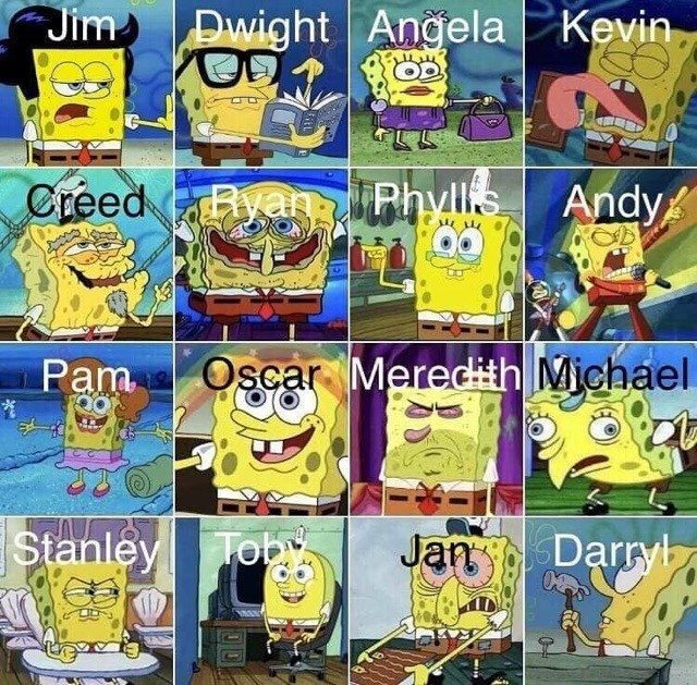 spongebob as the office characters the office memes