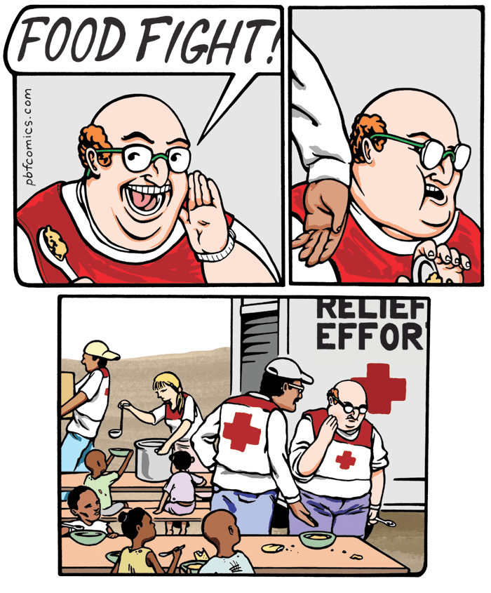 meme - Cartoon - (FOOD FIGHT! RELIEF EFFOR pbfcomics.com