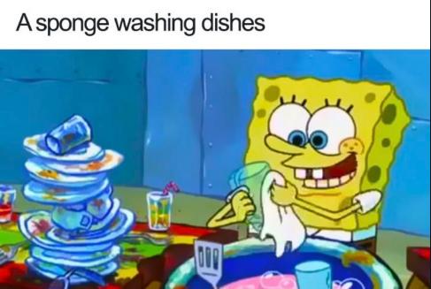 Cartoon - Asponge washing dishes