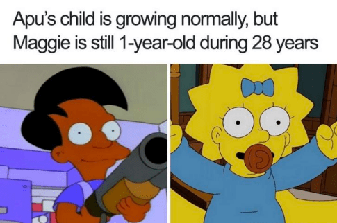 Animated cartoon - Apu's child is growing normally, but Maggie is still 1-year-old during 28 years
