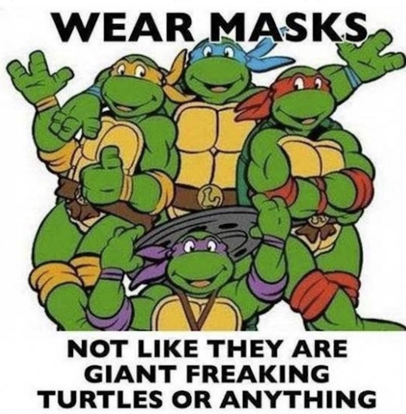 """Caption that reads, """"Wear masks - not like they are giant freaking turtles or anything"""" with a pic of the Teenage Mutant Ninja Turtles"""