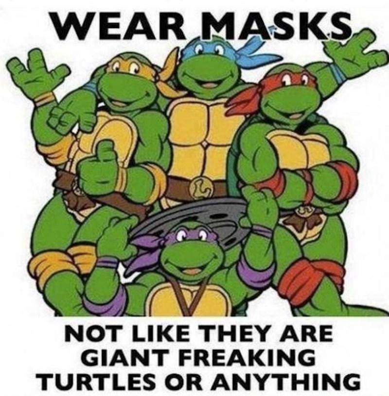 Teenage mutant ninja turtles - WEAR MASKS NOT LIKE THEY ARE GIANT FREAKING TURTLES OR ANYTHING