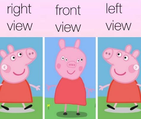 Cartoon - left right front view view view