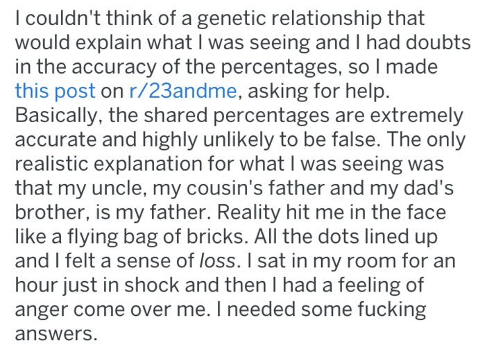 screenshot of text from reddit about dna test that caused chaos in family