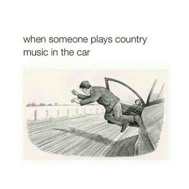 """Caption that reads, """"When someone plays country music in the car"""" above an illustration of a guy getting kicked out of a moving car"""