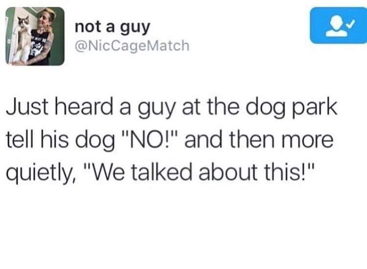 "Text - not a guy @NicCageMatch Just heard a guy at the dog park tell his dog ""NO!"" and then more quietly, ""We talked about this!"""
