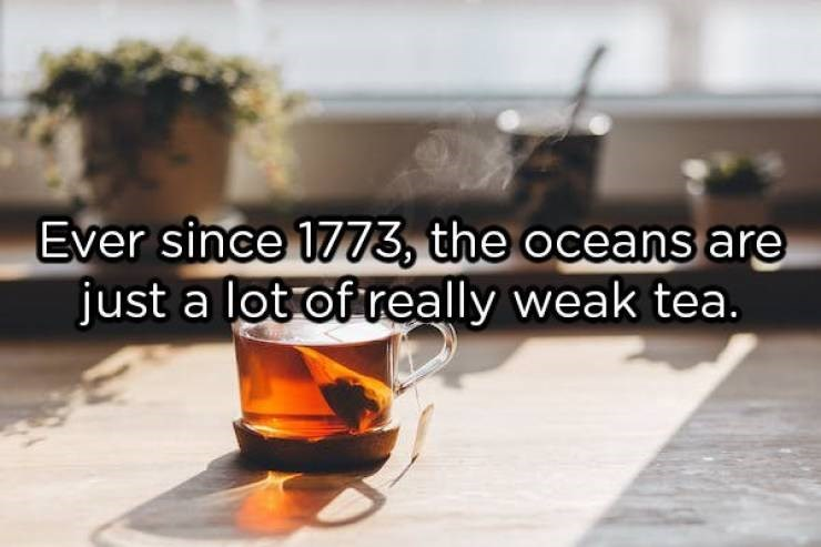 showerthoughts - Drink - Ever since 1773, the oceans are just a lot of really weak tea.