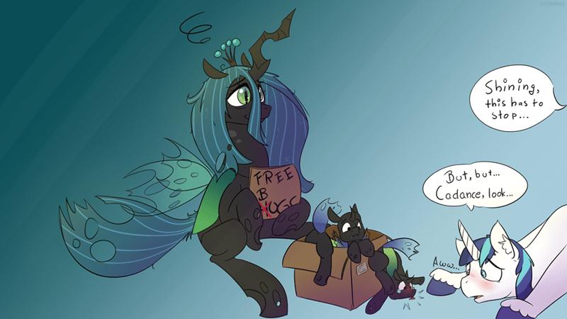 fuzzy pones shining armor chrysalis changelings - 9287963904