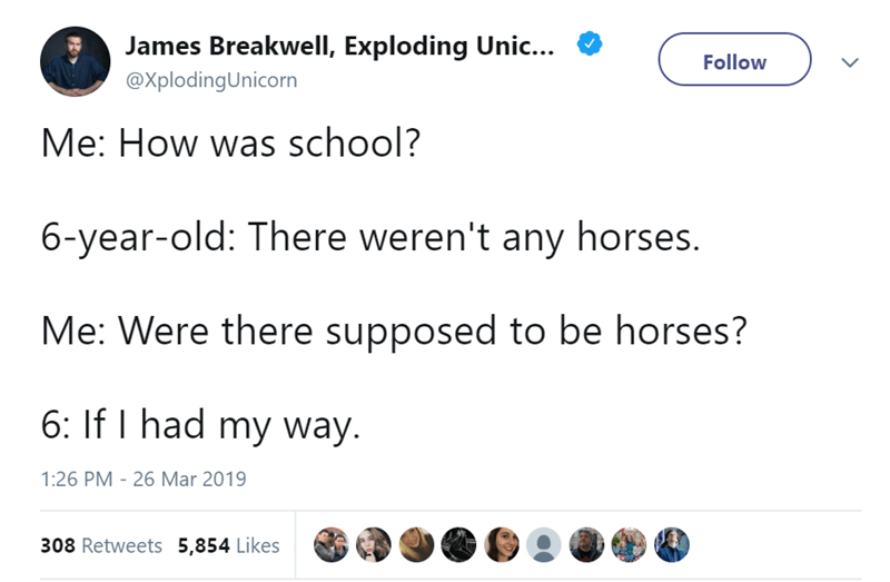Text - James Breakwell, Exploding Unic... Follow @XplodingUnicorn Me: How was school? 6-year-old: There weren't any horses. Me: Were there supposed to be horses? 6: If I had my way. 1:26 PM 26 Mar 2019 308 Retweets 5,854 Likes