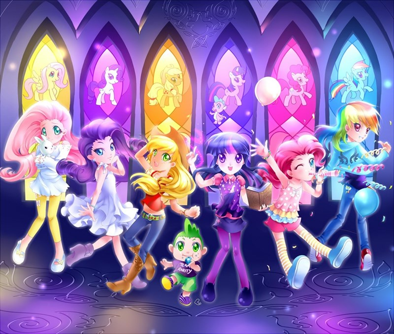 mauroz spike angel applejack twilight sparkle chisana maho no yujo-ba garuzu pinkie pie princess luna kagome sarrow rarity princess celestia fluttershy rainbow dash - 9288260352