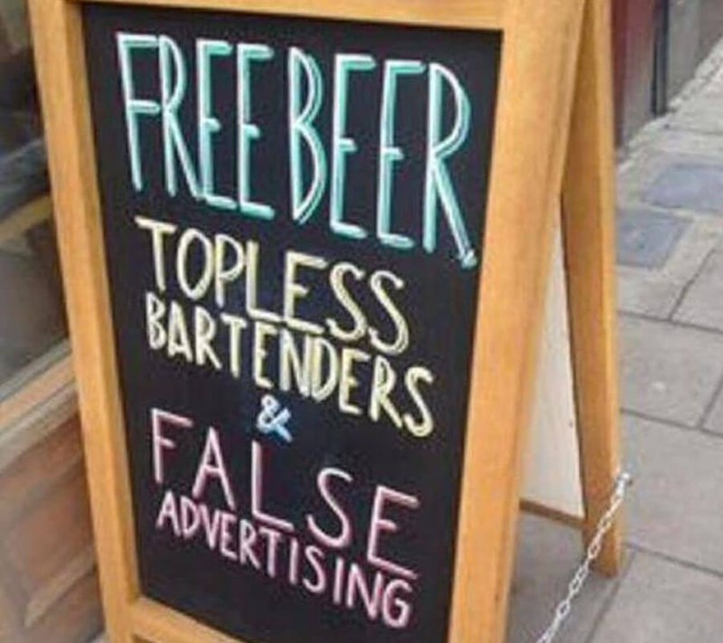 restaurant sign - Font - REBER TOPLESS BARTENDERS FALSE ADVERTISING