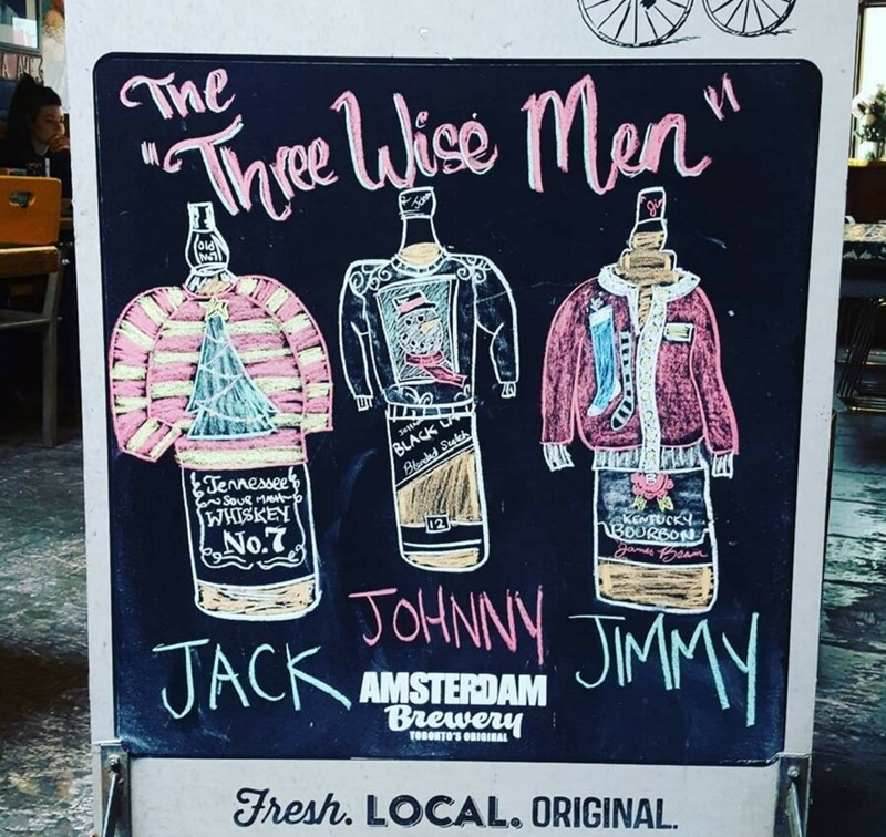 restaurant sign - Pink - Tae Tne hie Men BLACK Blanded Seateh Jstt Jennessee SouR MAtp WHISKEN No.7 KEMUCKY 1B0URBON TOHNNY JMM JACK gands Geam AMSTERDAM Brewery TOBONTO'S OBIGIEAL Fresh. LOCAL. ORIGINAL