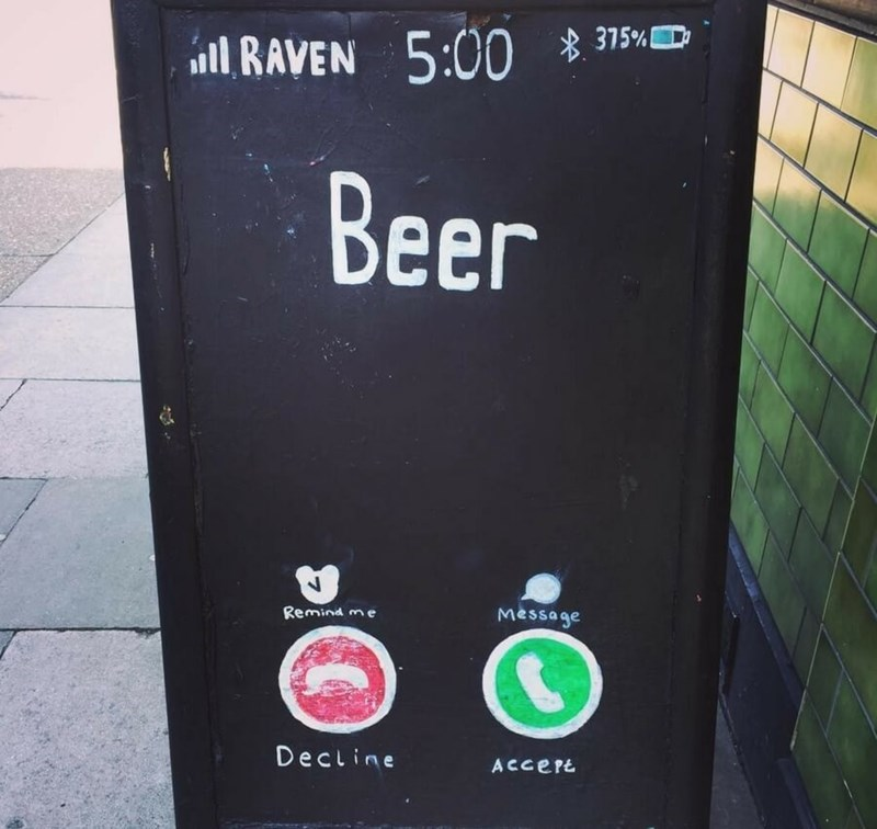restaurant sign - Text - lRAVEN 5:00 *315%D Beer Message Remind me Decline ACCEPE