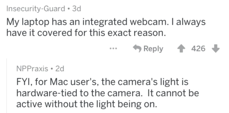 screenshot of text from reddit about gamer installing sketchy software, being watched through webcam