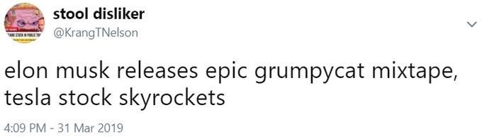 Text - stool disliker @KrangTNelson elon musk releases epic grumpycat mixtape, tesla stock skyrockets 4:09 PM 31 Mar 2019