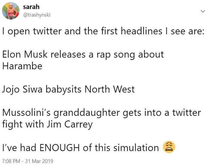 Text - sarah @trashynski I open twitter and the first headlines I see are: Elon Musk releases a rap song about Harambe Jojo Siwa babysits North West Mussolini's granddaughter gets into a twitter fight with Jim Carrey I've had ENOUGH of this simulation 7:08 PM - 31 Mar 2019 30