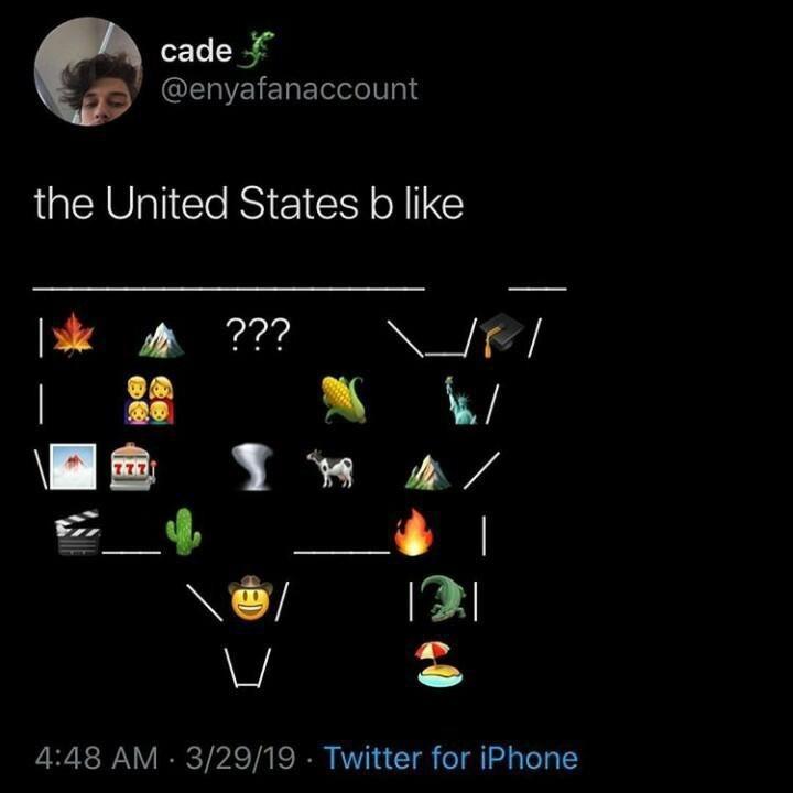 meme - Text - cade @enyafanaccount the United States b like ??? 4:48 AM 3/29/19 Twitter for iPhone