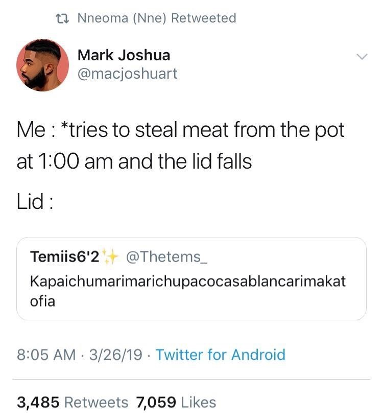 meme - Text - ti Nneoma (Nne) Retweeted Mark Joshua @macjoshuart Me *tries to steal meat from the pot at 1:00 am and the lid falls Lid: Temiis6'2 @Thetems_ Kapaichumarimarichupacocasablancarimakat ofia 8:05 AM 3/26/19 Twitter for Android 3,485 Retweets 7,059 Likes