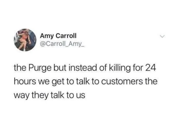 Text - Amy Carroll @Carroll Amy the Purge but instead of killing for 24 hours we get to talk to customers the way they talk to us