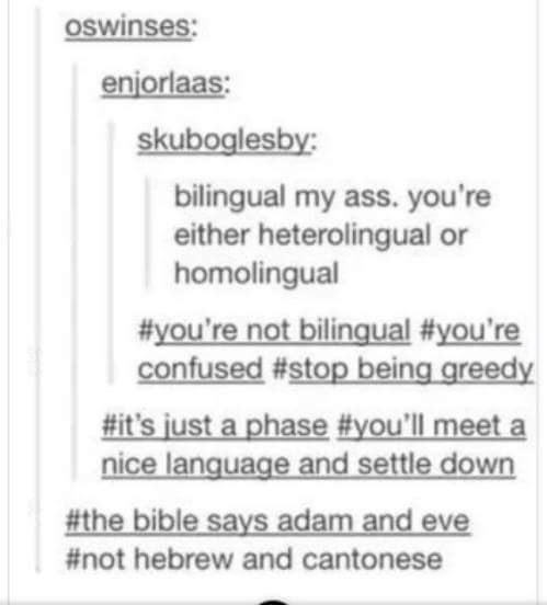 Text - Oswinses: enjorlaas: skuboglesby: bilingual my ass. you're either heterolingual or homolingual #you're not bilingual #you're confused #stop being greedy #it's just a phase #you'll meet a nice language and settle down #the bible says adam and eve #not hebrew and cantonese