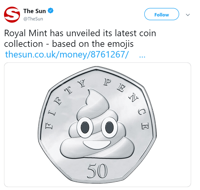 Face - Follow The Sun @TheSun Royal Mint has unveiled its latest coin collection based on the emojis thesun.co.uk/money/8761267/ P E N 50 C E JL I