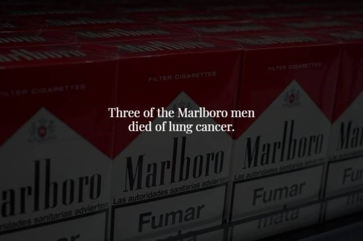 Red - FILTER CIGARETTES TER CAR Three of the Marlboro men died of lung cancer. arlboro Marlboro Marlborn Ma Fur Las autord Fumar ridades sanitarias advierten Las autoridades sanitarias advierte Fumar