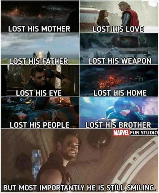 Photo caption - LOST HIS LOVE LOST HIS MOTHER LOST HIS FATHER LOST HIS WEAPON LOST HIS HOME LOST HIS EYE LOST HIS PEOPLE LOST HIS BROTHER MARVEL FUN STUDIO BUT MOST IMPORTANTLY HE IS STILL SMILING