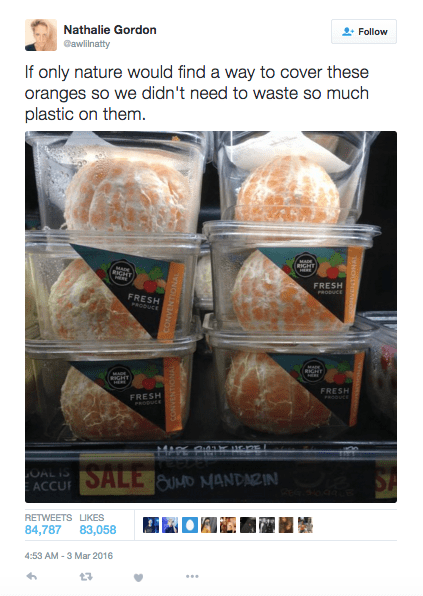 """Tweet that reads, """"If only nature would find a way to cover these oranges so we didn't need to waste so much plastic on them"""" above a pic of peeled oranges sold in plastic containers"""
