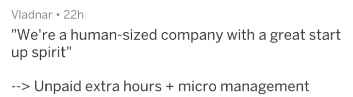 """Text - Vladnar 22h """"We're a human-sized company with a great start up spirit"""" Unpaid extra hours micro management"""