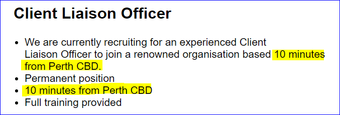 Text - Client Liaison Officer We are currently recruiting for an experienced Client Liaison Officer to join a renowned organisation based 10 minutes from Perth CBD Permanent position 10 minutes from Perth CBD Full training provided