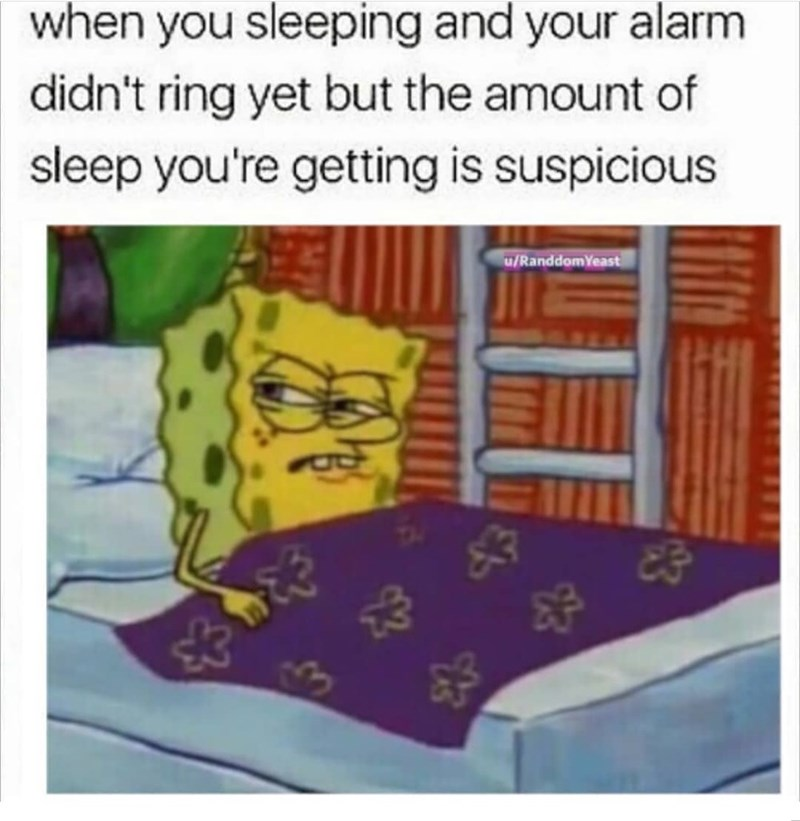 spongebob meme - Text - when you sleeping and your alarm didn't ring yet but the amount of sleep you're getting is suspicious u/RanddomYeast