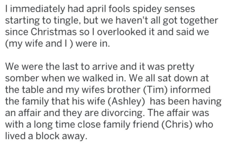 screenshot of text from reddit about april fools divorce fail