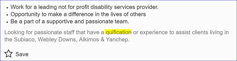 Text - Work for a leading not for profit disability services provider. Opportunity to make a difference in the lives of others Be a part of a supportive and passionate team. Looking for passionate staff that have a quification or experience to assist clients living in the Subiaco, Webley Downs, Alkimos & Yanchep. Save