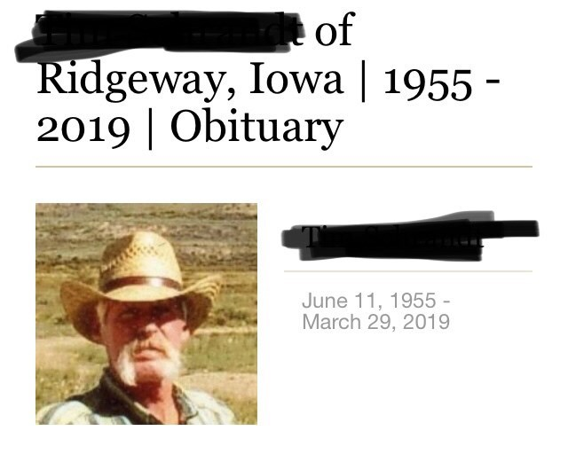 Obituary for someone who passed away in 2019 in Iowa