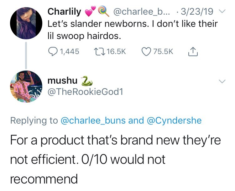 twitter post about newborn babies For a product that's brand new they're not efficient. 0/10 would not recommend