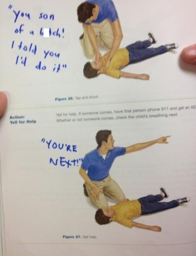 """Textbook page showing an illustration of a guy helping a choking victim with written-out text that reads, """"You son of a b*tch! I told you I'd do it. You're next!"""""""