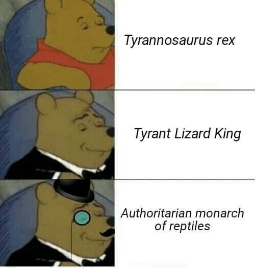 Cartoon - Tyrannosaurus rex Tyrant Lizard King Authoritarian monarch of reptiles