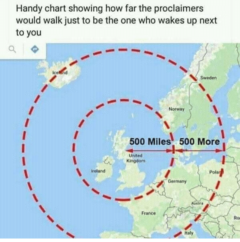 music meme - Text - Handy chart showing how far the proclaimers would walk just to be the one who wakes up next to you Icewnd Sweden Norway 500 Miles 500 More United Kingdom Pola Ireland 'Germany AUstria France Ro Italy