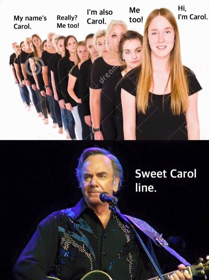 music meme - Music artist - My name's Really? Carol Carol I'm also Me Hi, I'm Carol too! Me too! dream Sweet Carol line.