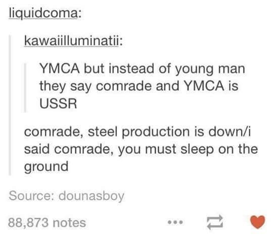 music meme - Text - liquidcoma: kawaiilluminati: YMCA but instead of young man they say comrade and YMCA is USSR comrade, steel production is down/i said comrade, you must sleep on the ground Source: dounasboy 88,873 notes 1l