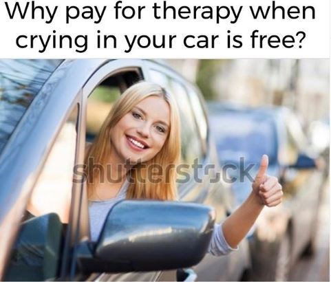 Motor vehicle - Why pay for therapy when crying in your car is free? Shuterstock