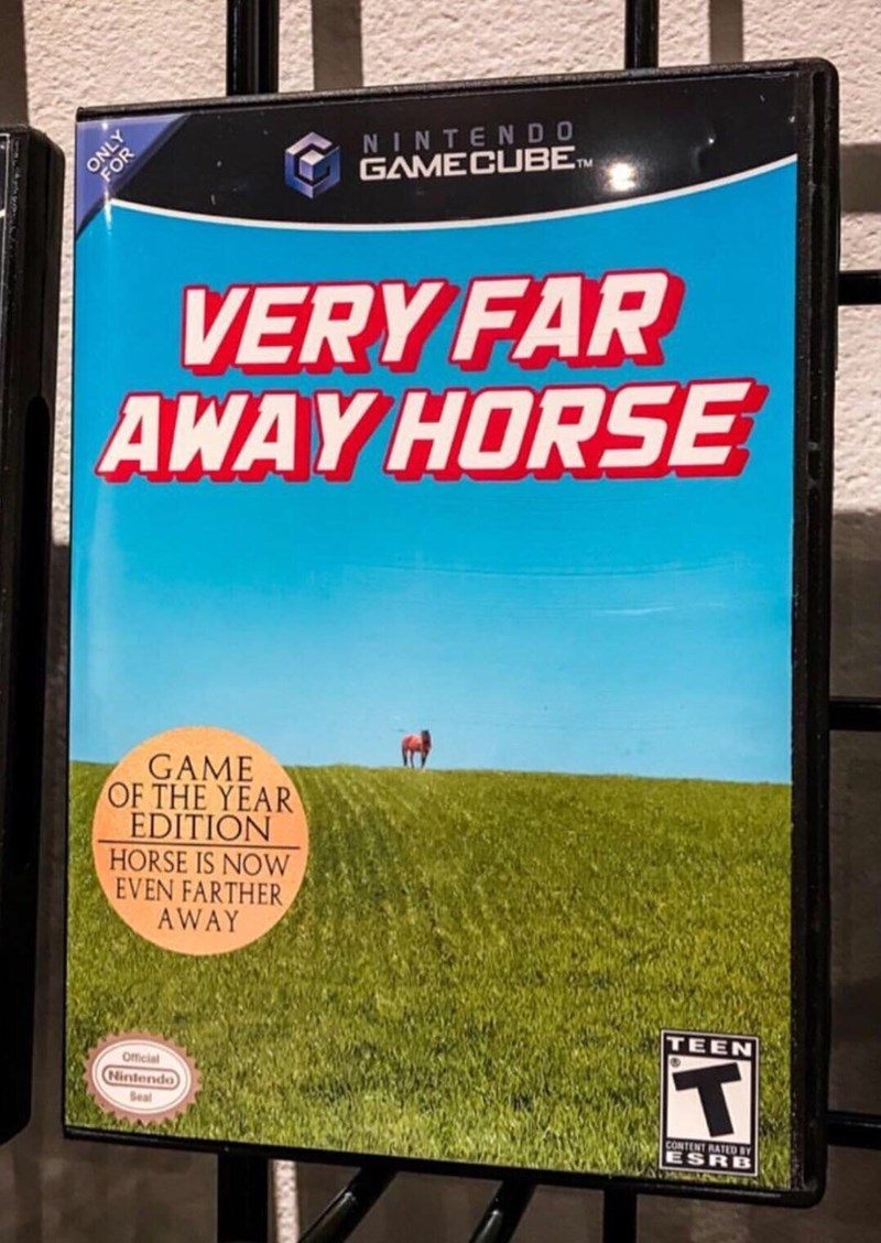 Technology - ONLY OR NINTENDO GAMECUBETM VERY FAR AWAY HORSE GAME OF THE YEAR EDITION HORSE IS NOW EVEN FARTHER AWAY Official TEEN Nintendo T Seal CONTENT RATED BY ESRB