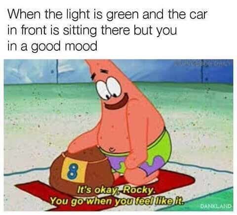 Cartoon - When the light is green and the car in front is sitting there but you in a good mood It's okay, Rocky You go when you feel like it DANKLAND